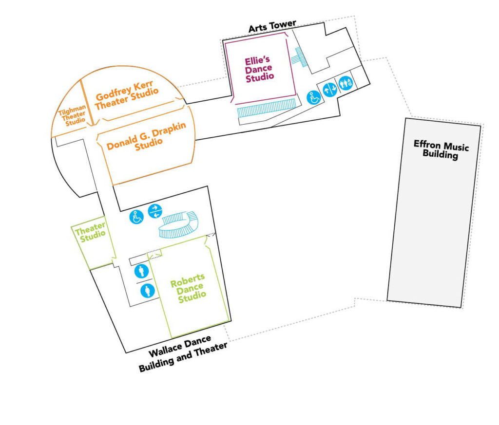 Map of the level 2 of the Lewis Center for the Arts